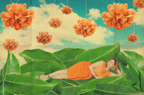 art collage with beautiful woman, creative work - 52529679