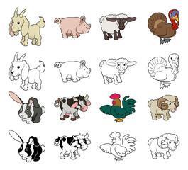 Cartoon Farm Animal Illustrations