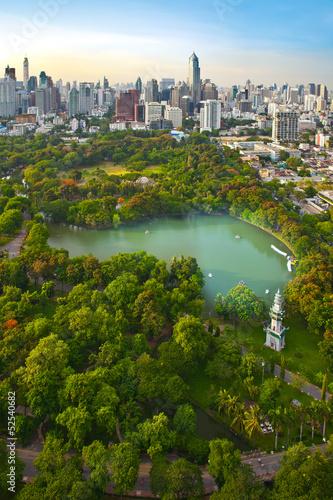 Photo  Modern city in a green environment,Suan Lum,Bangkok,Thailand