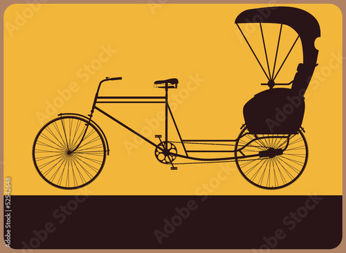 Fotografie, Obraz  Vintage street sign with the silhouette rickshaw.
