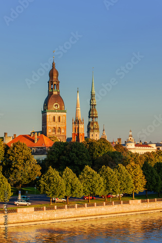 Tuinposter Barcelona Riga, the capital of Latvia by the Daugava river