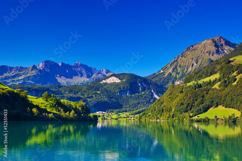 Montage in der Fensternische Dunkelblau Alps mountain landscape