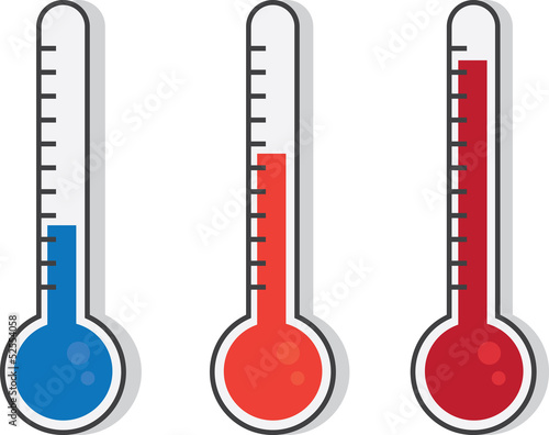 Fotografie, Obraz Isolated thermometers in different colors