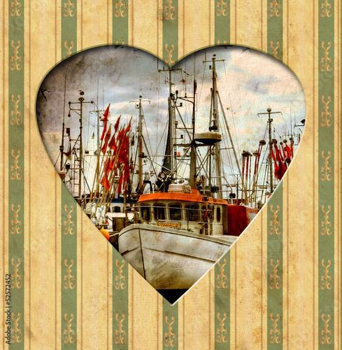 Papiers peints Affiche vintage Vintage Heart - Fischer