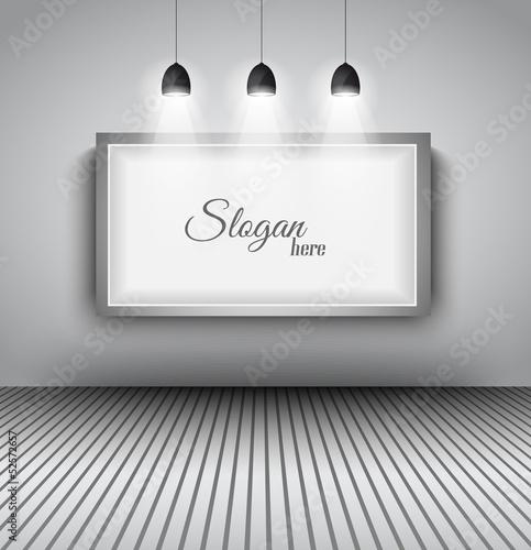 Foto op Canvas Licht, schaduw Modern interior art gallery frame design with spotlights.