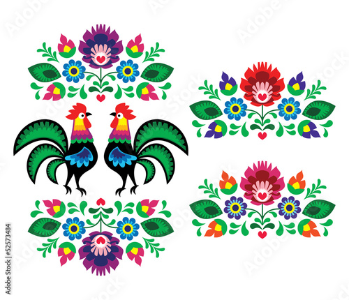 Fototapety, obrazy: Polish ethnic floral embroidery with roosters traditional