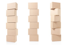 Cardboard Boxes Pile On White,...