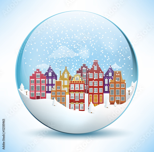 Photo  City in the glass sphere (Christmas scenery)
