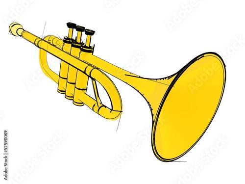 Photo  Trumpet isolated
