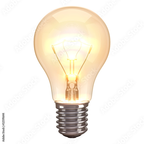 Fotografie, Obraz  Lamp Burn White Background