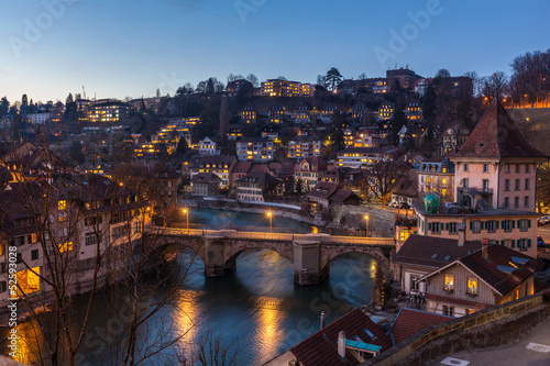Garden Poster Napels Night View of Bern and Aare River