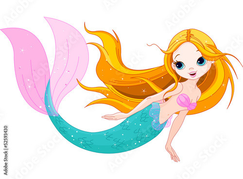 Foto op Canvas Zeemeermin Cute Mermaid