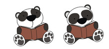 Panda Bear Baby Cartoon Readin...