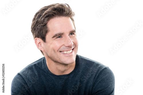 mature handsome man toothy smile portrait Tableau sur Toile