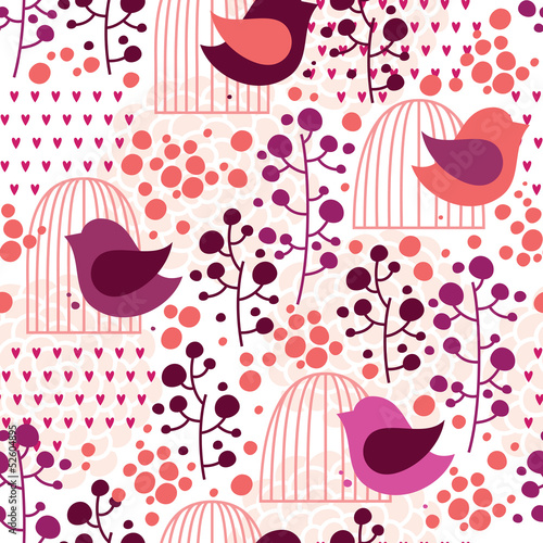 Poster Birds in cages Cage and bird seamless pattern