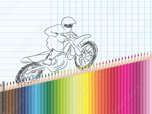Dessin Et Crayons De Couleur Moto Cross Buy This Stock Vector And Explore Similar Vectors At Adobe Stock Adobe Stock