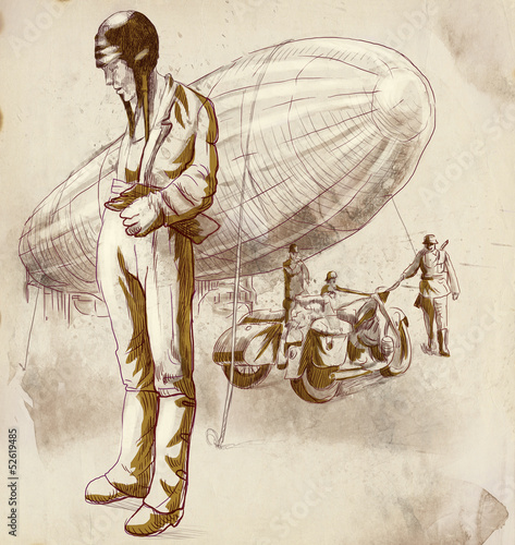 swiat-w-latach-1905-1949-pilot-sterowca-rysunek-w-pelnym-rozmiarze