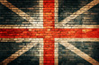 United Kingdom flag on old brick wall