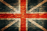 Fototapeta London - United Kingdom flag on old brick wall