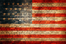 American Flag On Old Brick Wal...
