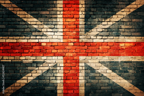 Tuinposter Londen United Kingdom flag on old brick wall