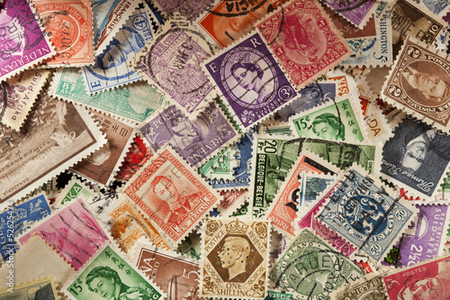 Fotografie, Tablou  Colorful Vintage Used Postage Stamps