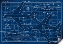 Blue Print Vector Plane Vintage Airplane