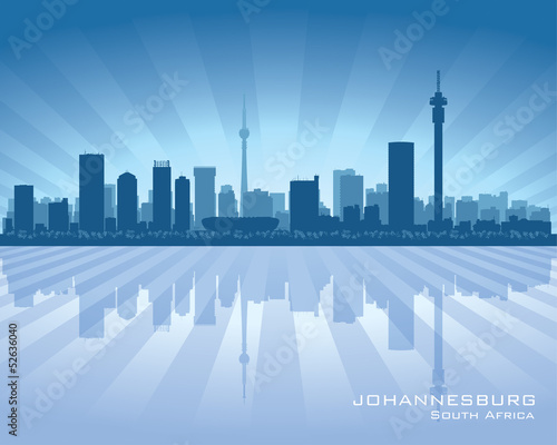Fototapeta premium Sylwetka panoramę miasta Johannesburg RPA