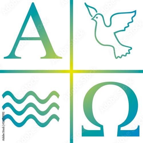 Symbol Taufe Wasser Taube Alpha Omega Poster Mural XXL