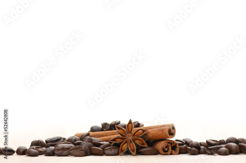 Coffee and star anise on white Canvas Print