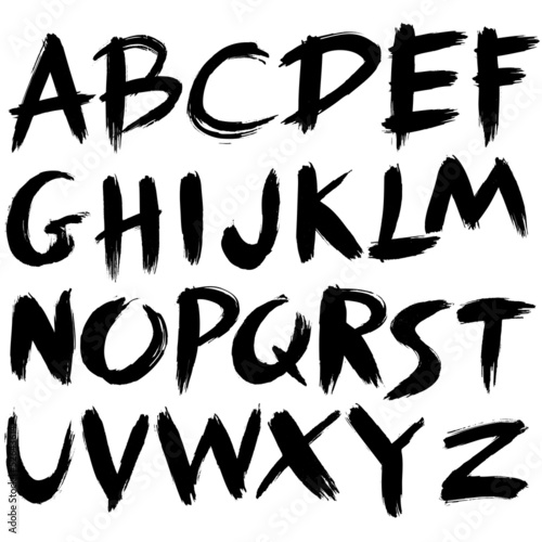 Fotografía  hand drawn font,brush stroke alphabet,grunge style