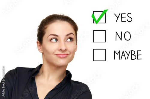 Valokuva  Business woman looking on option and select yes decision isolate