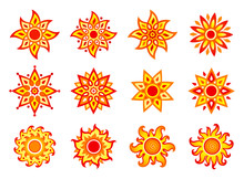 Stylized Vector Suns (colored)