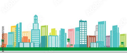 Panorama town - sketch illustration