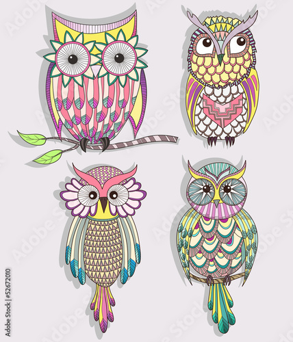 Wall Murals Birds, bees Set of cute colorful owls