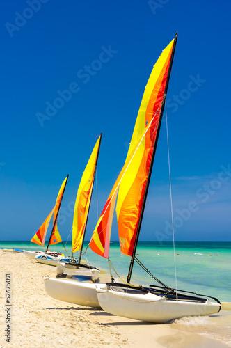 Catamarans at the beach of Varadero in Cuba Canvas Print