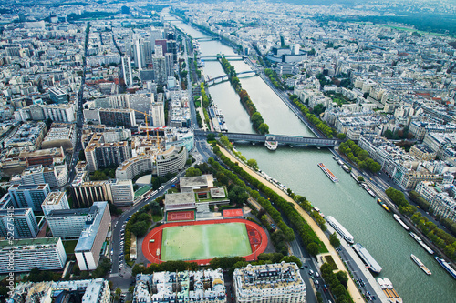 top view of the river and the stadium in Paris