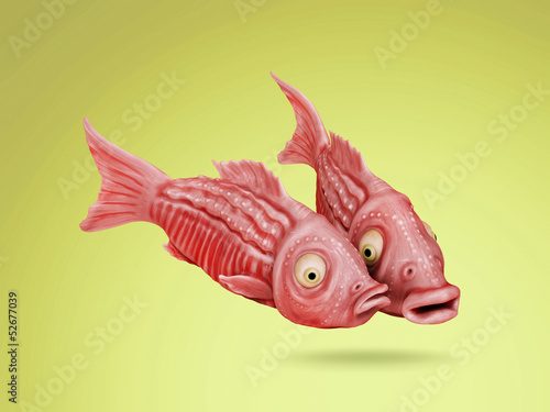 Two funny fish comic cartoon 3D image