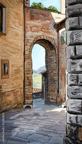 stare-budynki-w-sredniowiecznym-wloskim-stylu-ilustracja