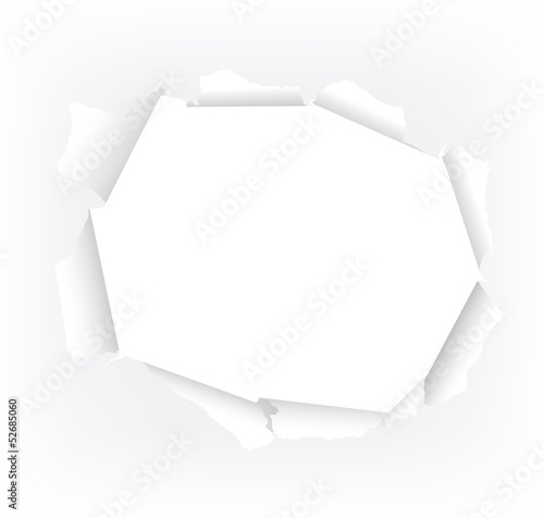 Fotografie, Obraz gerissenes Loch in weißem Papier