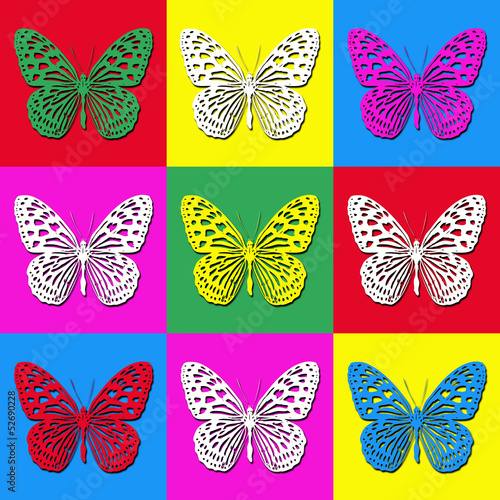 Obraz na plátně Pop art illustration with colorful butterflies