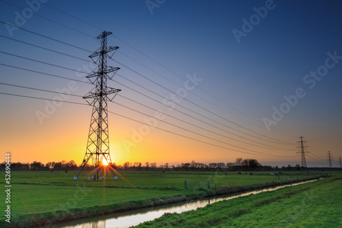 Aluminium Prints Mills Electricity cable in a typical dutch landscape