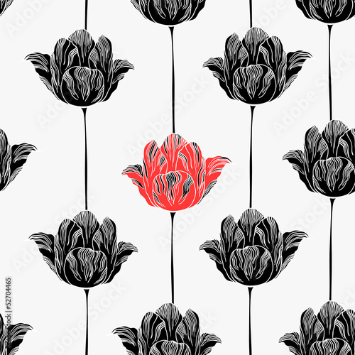 Tuinposter Abstract bloemen Seamless pattern with tulips.