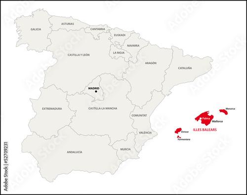 Autonome Regionen Spanien Karte.Autonome Region Balearische Inseln Spanien Kaufen Sie