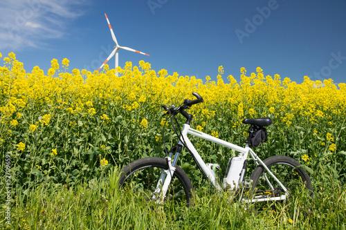 Deurstickers Fietsen e-bike, pedelec, windrad, raps, öko