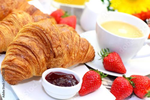 Fotografie, Obraz  Frühstück,Croissant