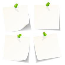 4 White Stick Notes Green Pins