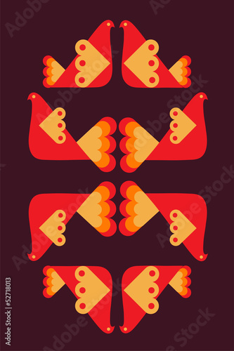 Poster abstract bird pattern in orange colors