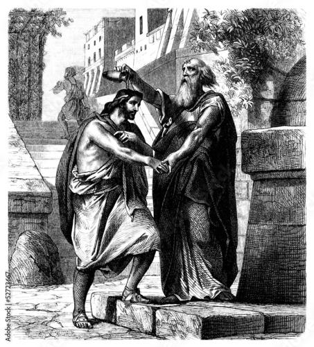 Samuel crowning King Saul - Biblical Scene Wallpaper Mural