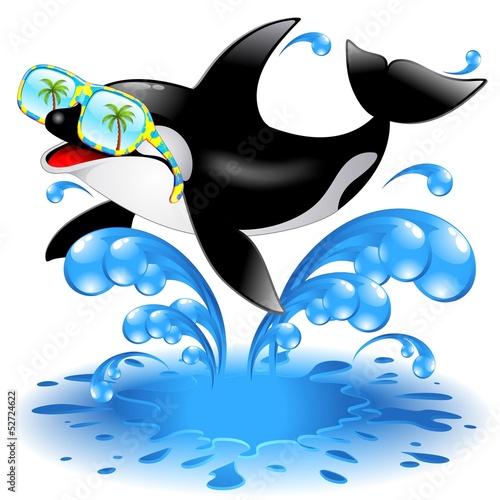 Staande foto Dolfijnen Killer Whale Cartoon with Sunglasses-Orca Con Occhiali da Sole